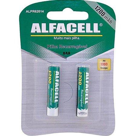 Pilha recarregável AAA 1,2V 1200mAh Alfacell - 2 unidades