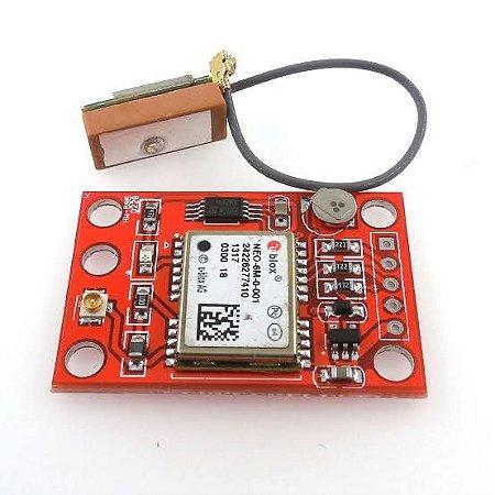 Módulo GPS NEO-6M Vermelho Com Antena - Econômico
