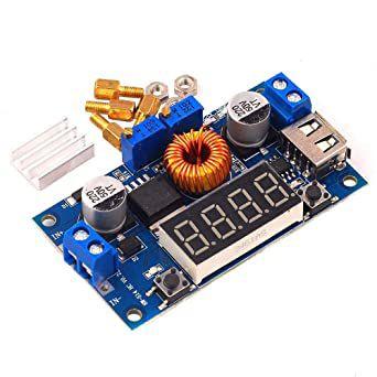 Módulo Regulador de Tensão Step Down XL4015 5A Com Voltímetro e Saída USB