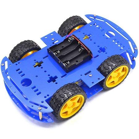 KIt Chassi com 4 Rodas 4WD Acrílico Azul