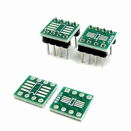 Adaptador dupla face 0,65 / 1,27mm Sop8 Ssop8 Tssop8 Smd Para DIP8  + Pinos 180 graus