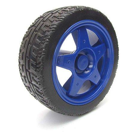Roda 65mm para Chassi Robótica - Cor Azul