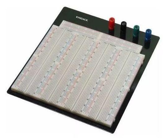 Protoboard 3220 pontos com base metálica e bornes
