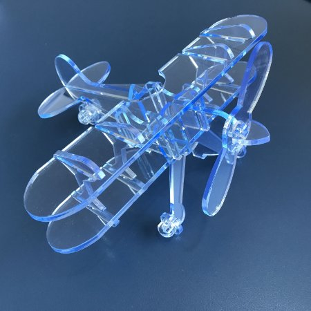Avião Asa Dupla Decorativo em Acrílico Azul