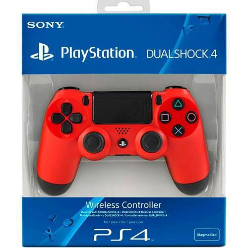 Ps4 - Controle Sem Fio Dualshock 4 Vermelho Modelo Novo - Sony