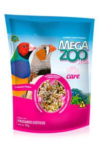 Ração Megazoo Mix com Vitacare Pássaros Exóticos
