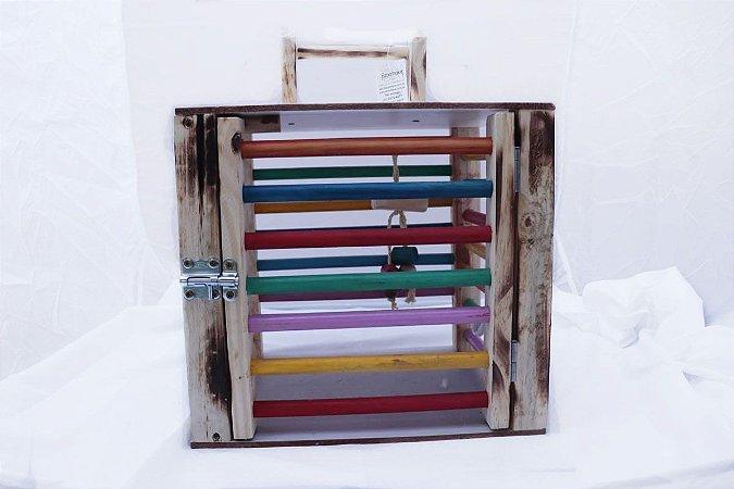 Caixa de transporte para papagaios em madeira