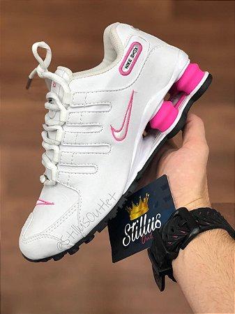 nike shox rosa e branco