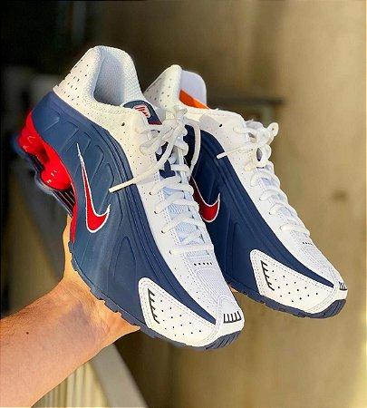 Tênis Nike Shox R4 - Azul/Branco