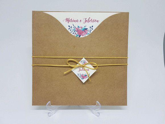 Convite Rústico envelope luva floral