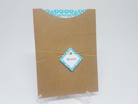 Convite casamento azul tiffany floral
