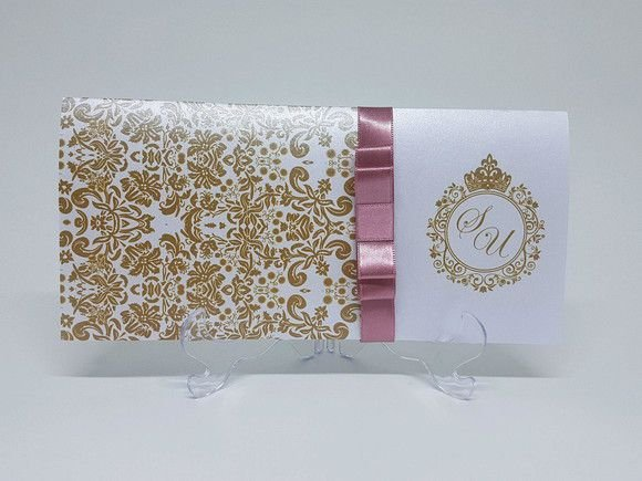 Convite dourado e Rose metalizado bodas