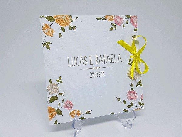 Convite de casamento flores amarelas