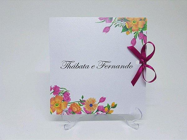 Convite floral Pink e amarelo