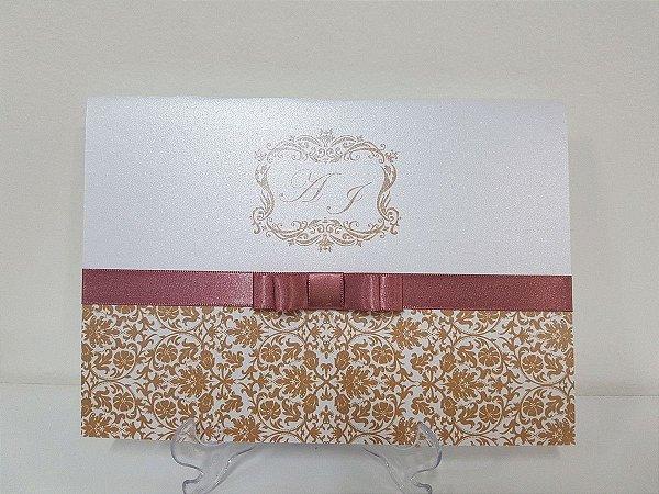 Convite casamento Rosê e dourado