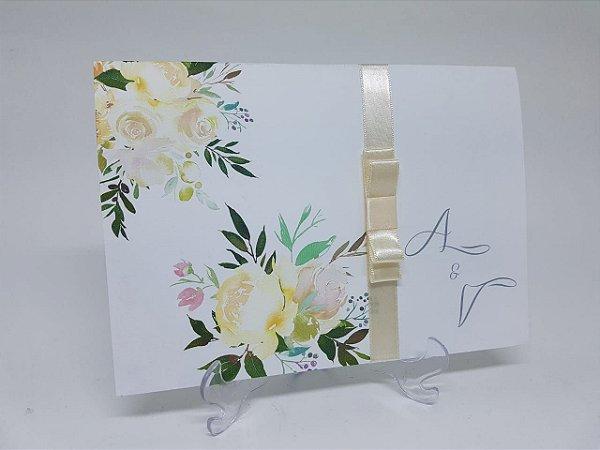 Convite casamento Clássico floral