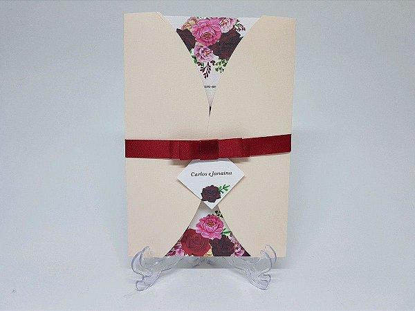 Convite rosa floral vinho