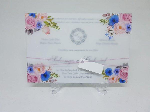 Convite casamento papel vegetal rosê e azul