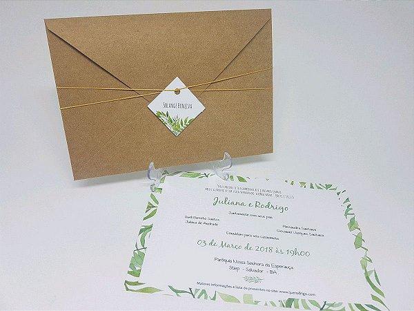 Convite rustico verde com folhas