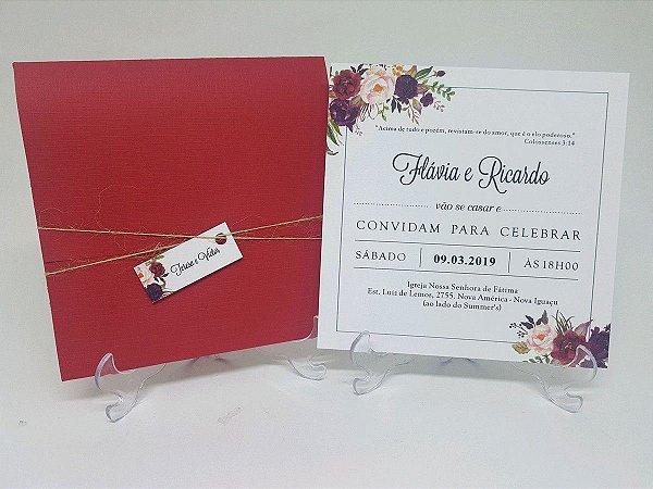 Convite casamento floral rustico marsala