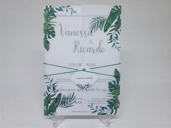 Convite casamento folhas em papel vegetal