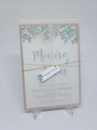 Convite rustico com papel vegetal