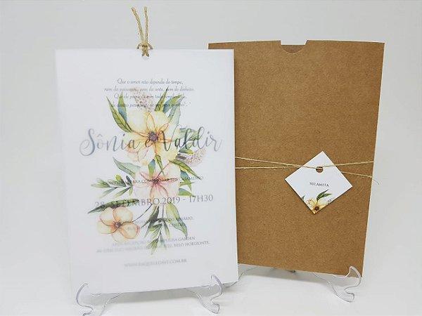 Convite casamento vegetal envelope rustico
