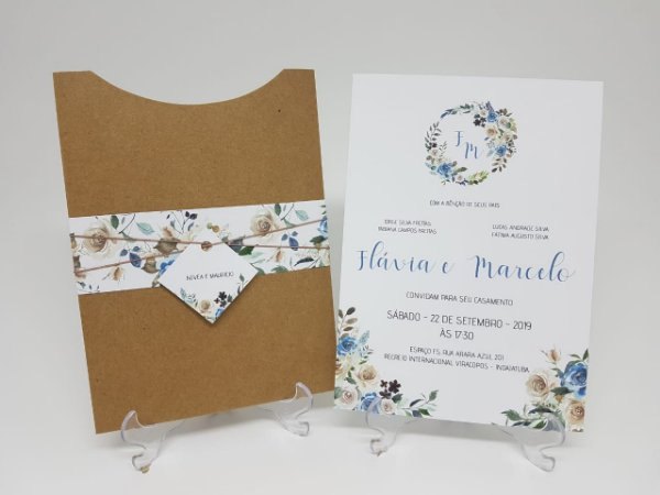 Convite casamento rustico floral azul
