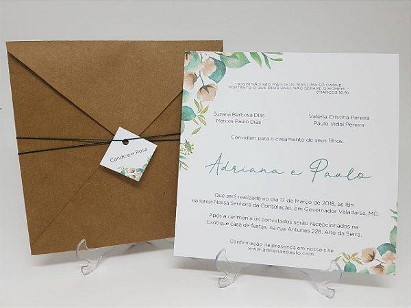Convite casamento rustico salmao com folhas
