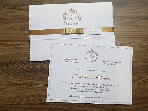 Convite casamento dourado e branco brasao