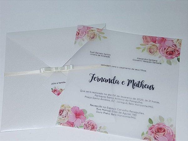 Convite de casamento moderno floral papel vegetal