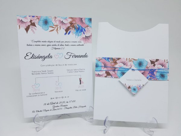 Convite casamento floral rosa e azul serenity