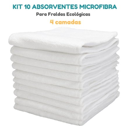 Kit 10 Absorventes Microfibra 4 Camadas