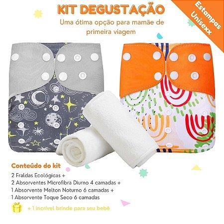Kit Degustação 2 Fraldas Ecológicas + 4 absorventes