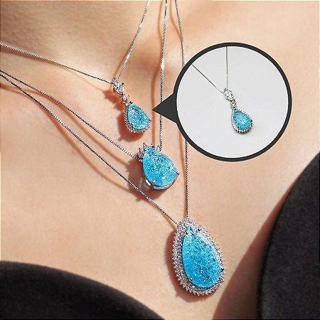 Corrente com Pingente Pêndulo Cristal Azul Folheada a Ródio