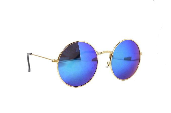 Óculos de Sol Feminino Redondo Dourado lente Espelhado Azul - Estilo John Lennon