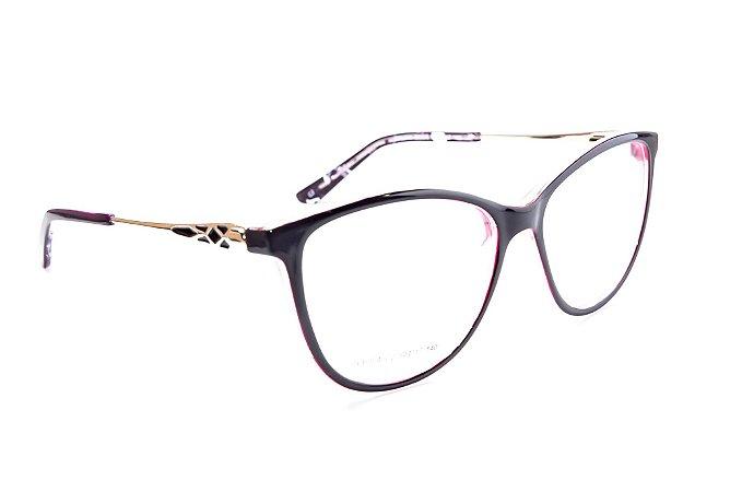 Armação para óculos de grau feminino grande - Roxo bem escuro - óculos ideal para rosto quadrado