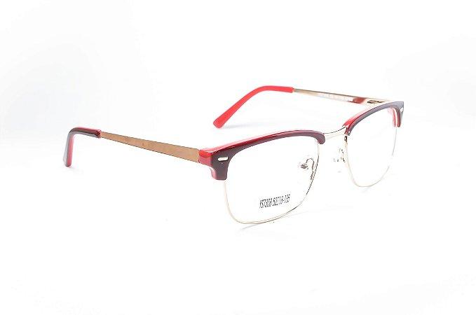 Armação para óculos de grau feminino - Club Master - Vinho - Haste em metal