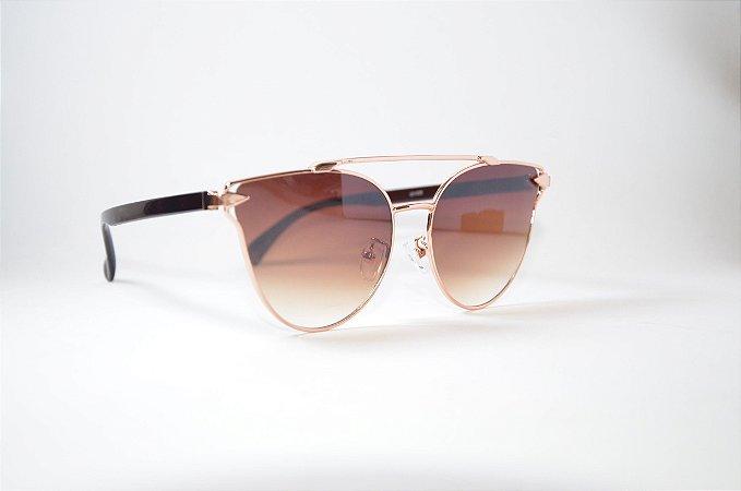 Óculos de Sol Feminino Redondo gatinho Dourado lente degradê marron barato