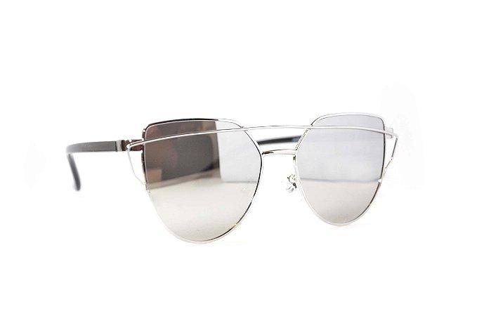 Óculos de Sol Love Punch feminino espelhado prata - Óculos de sol feminino Barato