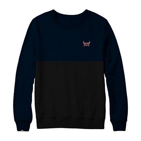 Blusa Moletom S/ Capuz  Logo  - Azul e Preto