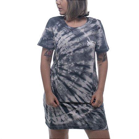 Vestido Tie Dye OWL Logo Básico - Mescla Preto