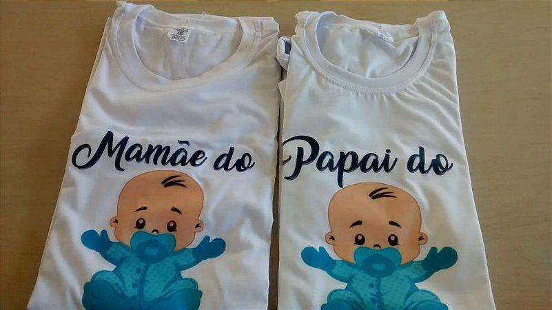 b3ce805a97 Kit 02 Camisetas Papai Mamãe Chá de Bebê - weestampaweb