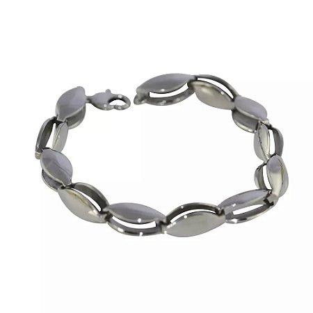 Pulseira Masculina de Aço Elos Vazados - 02638