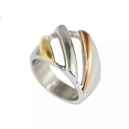 Anel de Aço com Ouro Maitê - 04063
