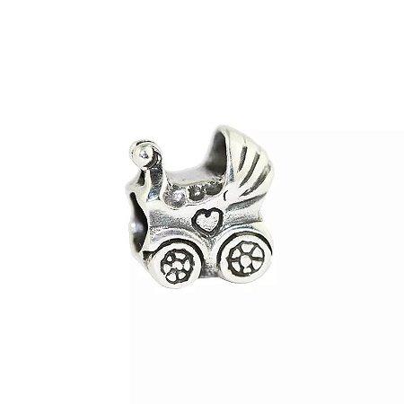 Berloque Carrinho de Bebê em Prata 925 - 04598