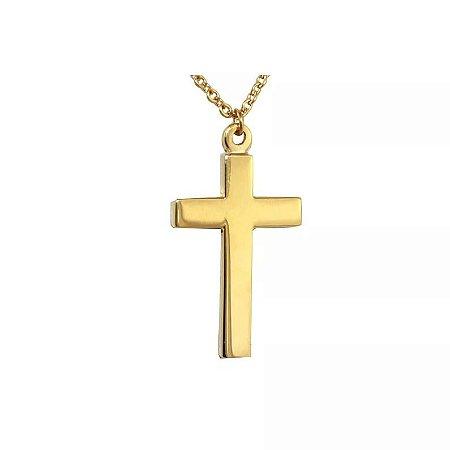 Colar de Aço com Ouro Cruz - 04789