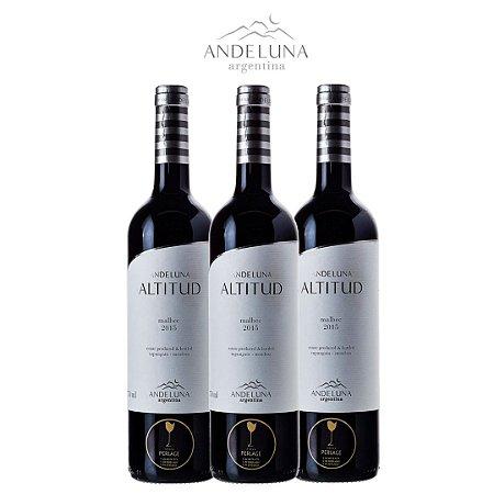 Vinho Tinto Malbec Reserva Andeluna Altitud 2015 750mL com 3 Garrafas