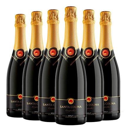 Espumante Santa Colina Brut CX com 6 garrafas de 750mL