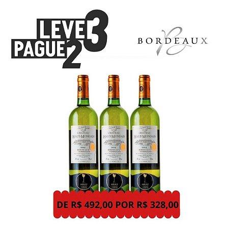 KIT  Leve 3 Pague 2 Vinho Branco Gran Bourdeaux Chateau Haut Mondain 750mL